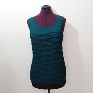 Ann Taylor Blue Pleated Sleeveless Top. Size S.